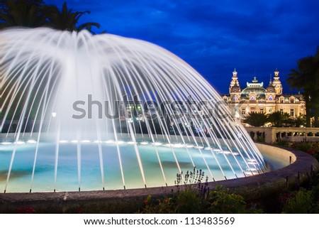 The Monte Carlo Casino, gambling and entertainment complex in Monte Carlo, Monaco, Cote de Azul, Europe. It includes a casino, Grand Theatre de Monte Carlo, and office of Les Ballets de Monte Carlo. - stock photo