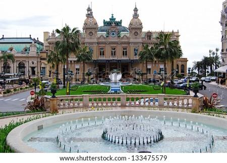 The Monte Carlo Casino, gambling and entertainment complex in Monte Carlo, Monaco, Cote de Azul, Europe. It includes a casino, Grand Theatre de Monte Carlo, and office of Les Ballets de Monte Carlo - stock photo