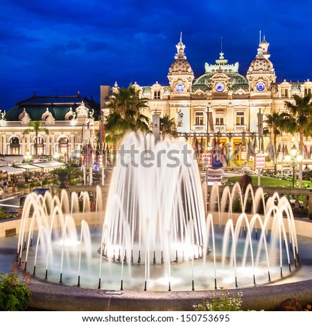 The Monte Carlo Casino in Monte Carlo, Monaco, Cote de Azul, France, Europe, includes a casino, the Grand Theatre de Monte Carlo, and the office of Les Ballets de Monte Carlo. - stock photo