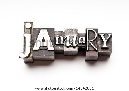 "The month of ""January"" done in letterpress type on a white paper background. Part of a calendar series. - stock photo"