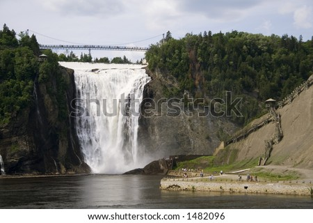 The Montmorency Falls, or Chutes Montmorency in French, is one of the most popular tourist attraction in Quebec city. - stock photo