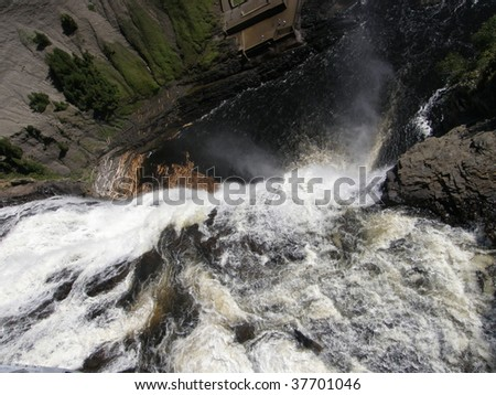 The Montmorency Falls or Chutes Montmorency in Quebec City, Canada - stock photo