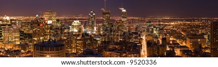 The Montreal Downtown Core at Night - stock photo