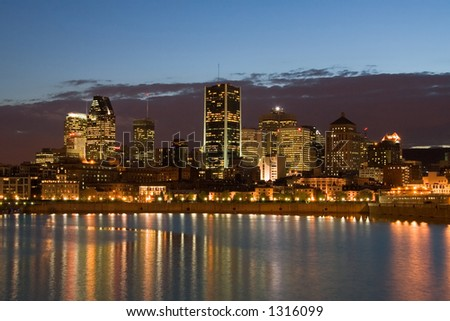 The Montreal downtown core viewed from across the river. - stock photo