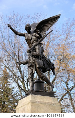 The Montreal's unknown soldier monument, Quebec Canada - stock photo
