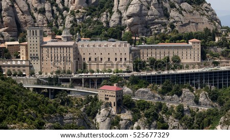 The Montserrat monastery with a cable way and a geared train track, Barcelona, Spain, July 2016