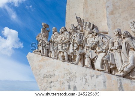 The monument for the conquerers is a famous sight in Lisbon / Portugal - stock photo