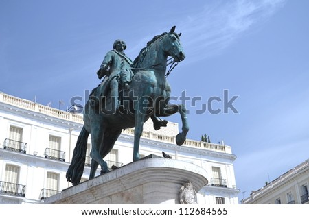 The monument of Charles III on Puerta del Sol in Madrid, Spain - stock photo