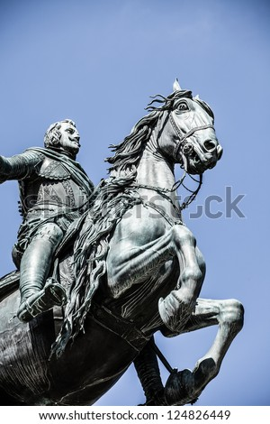 The monument of Charles III on Puerta del Sol in Madrid, Spain ( HDR image ) - stock photo