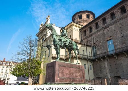 The Monument to Cavalieri d'Italia in Turin Turin,Italy,Europe - April 10, 2015 : View of the Monument to Cavalieri d'Italia in Piazza Castello - stock photo