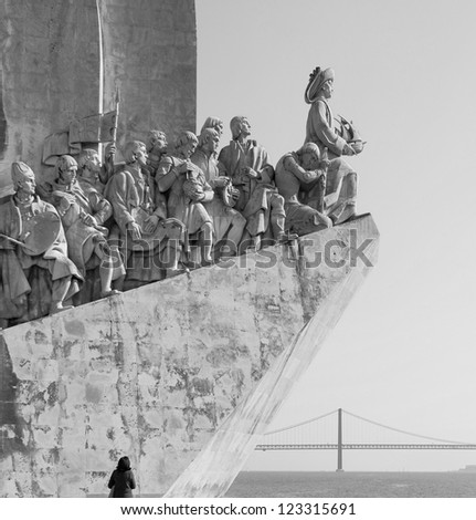 The Monument to the Discoveries in Lisbon ( Padrao dos Descobrimentos ) - Portugal (black and white) - stock photo