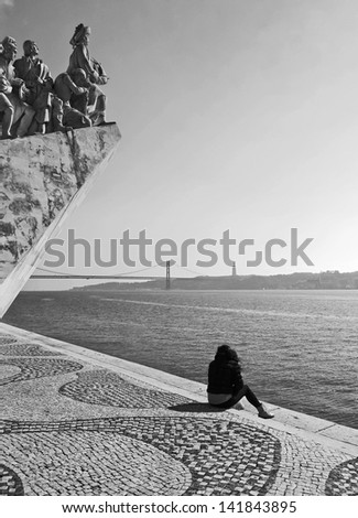 The Monument to the Discoveries in Lisbon (Padrao dos Descobrimentos), Portugal (black and white) - stock photo
