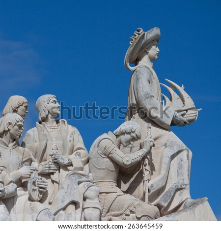 The Monument to the Discoveries in Lisbon, Portugal. - stock photo