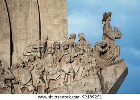 The Monument to the Discoveries in Lisbon  Portugal - stock photo