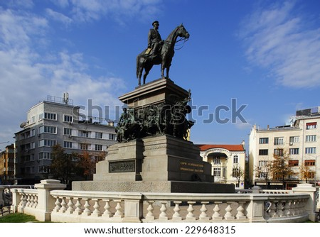 The Monument to the Tsar Liberator  is an equestrian monument in the centre of Sofia, the capital of Bulgaria - stock photo