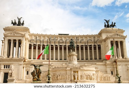 The monument to Victor Emmanuel II. Piazza Venezia, Rome  , Italy - stock photo