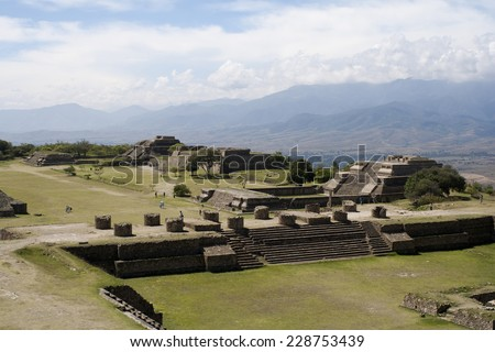 The monumental center of Monte Alba�¡n is the Main Plaza, which measures approximately 300 meters by 200 meters. - stock photo