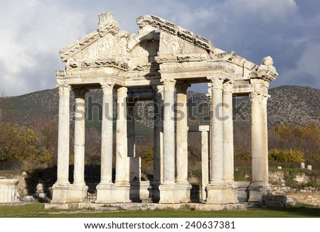 The monumental gateway on ancient Aphrodisias city built in 200 AD. (Turkey). - stock photo