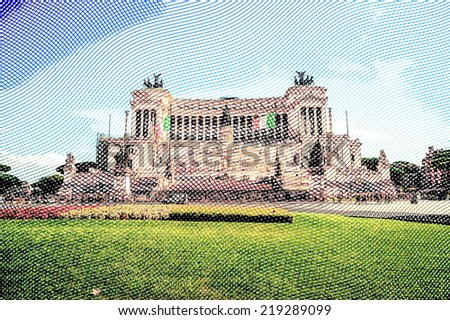 The monumental memorial for king Vittorio Emanuele II. Vintage travel postcard of Rome. - stock photo