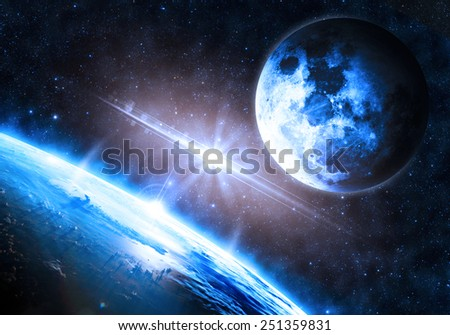 The Moon and Earth - Elements of this Image Furnished by NASA - stock photo