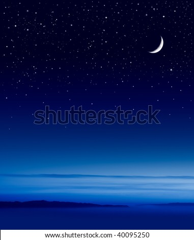 The moon and stars over the Pacific ocean. - stock photo