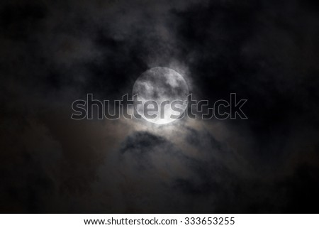 The moon back cloud in night. blur effect added