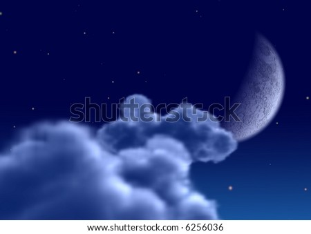 The moon in clouds