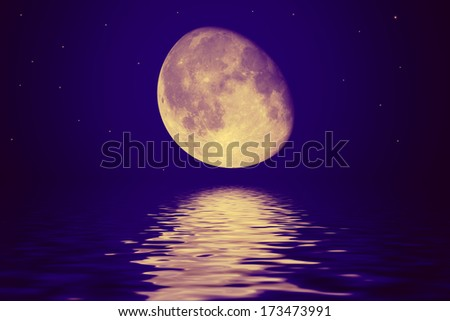 The moon is reflected in a wavy water. Illustration - stock photo