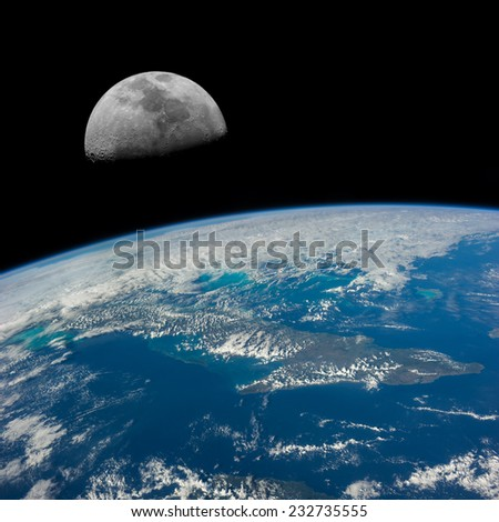 The Moon over Cuba. Elements of this image furnished by NASA. - stock photo