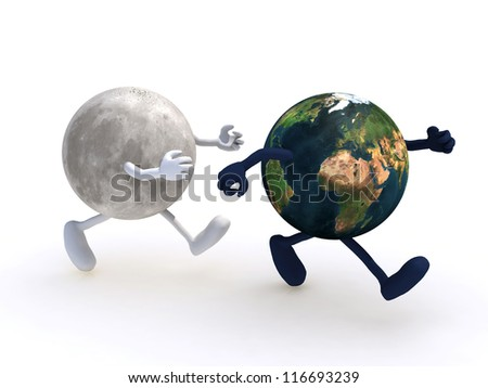 the moon running towards the planet earth, 3d illustration. Elements of this image furnished by NASA - stock photo
