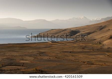 The morning light above  lake Tso Moriri, Ladakh, India - stock photo