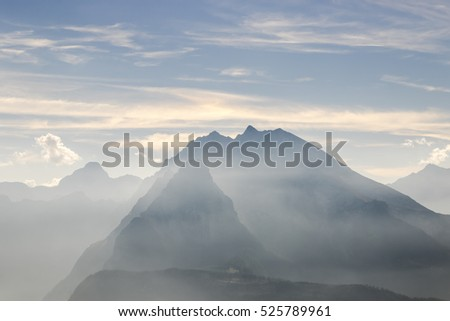The morning sky and fog on the mountain in Germany
