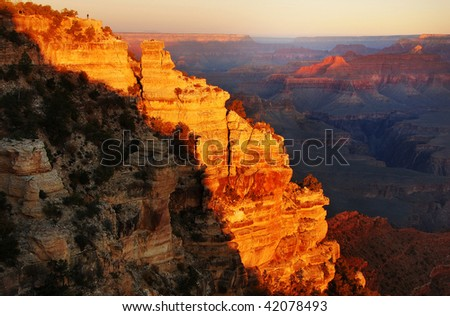 The morning sun light lit up the grand canyon.