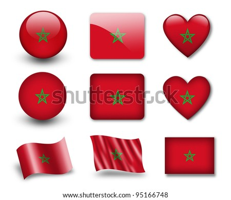 The Moroccan flag - set of icons and flags. glossy and matte on a white background. - stock photo