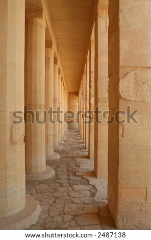 The mortuary temple of Queen Hapshepsut, one of the few female pharaohs, at Deir el-Bahri near Luxor, Egypt - stock photo