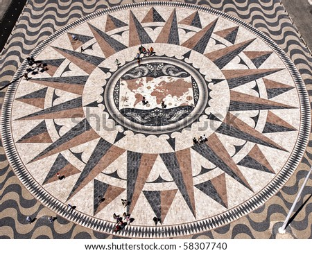 The mosaic map, showing the discoveries routes in the 15th and 16th centuries viewed from the top of the Monument to the Discoveries in Belem, Lisbon. For detailed views check next pictures