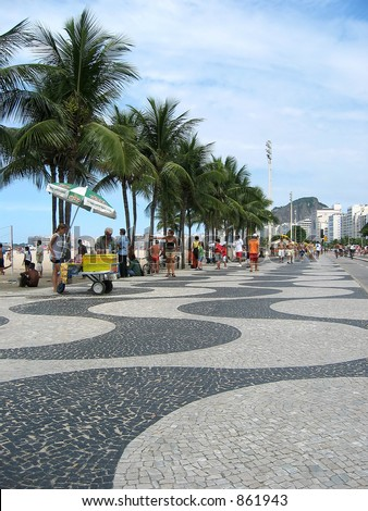 The mosaic promenade on Copacabana Beach.