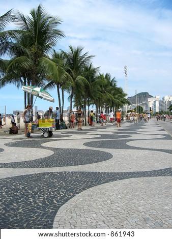The mosaic promenade on Copacabana Beach. - stock photo