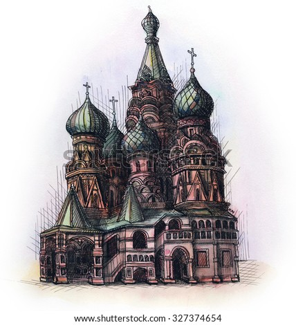 architectural drawings of famous buildings.  Drawings The Moscow Cathedral Watercolor Hand Drawing Famous Architectural Building  Isolated On White Background Throughout Architectural Drawings Of Famous Buildings U