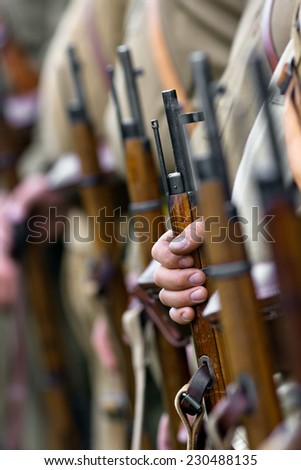 the Mosin in hand - stock photo