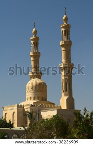 The mosque in Hurghada, Egypt. Hot noon.