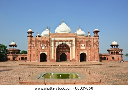 The Mosque in Taj Mahal, India - stock photo