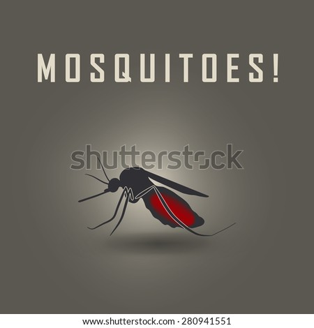 the mosquitoes stop sign - raster image of a mosquito  - stock photo