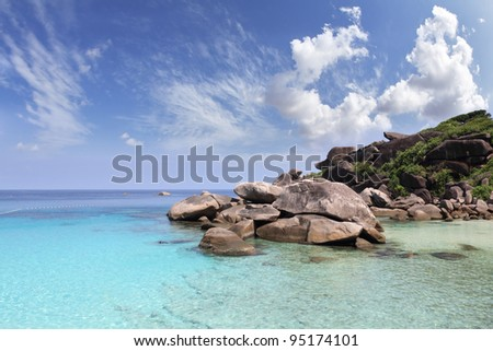 The most beautiful beach in the picturesque Similan Islands. Scenic cliffs and clear azure water