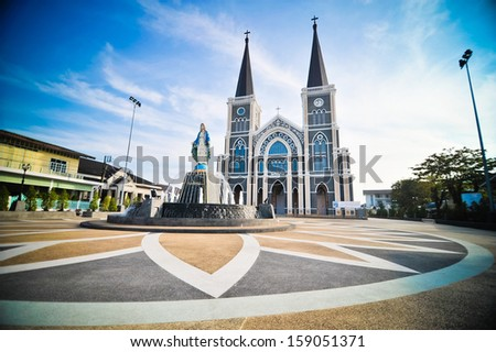 The most beautiful Church in Thailand - stock photo