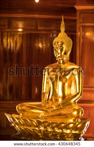 The Most Beautiful Golden Buddha ; Gold Buddha statue at public worship, Thailand - stock photo