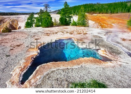 "The most beautiful hot spring in Yellowstone park - ""The Blue star spring"" - stock photo"