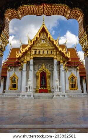 The most beautiful temple of Bangkok - Wat Benchamabopitr Dusitvanaram (The Marble Temple, Temple of the Holy Jewel), one of Bangkok's tourist attractions, Bangkok, Thailand - stock photo