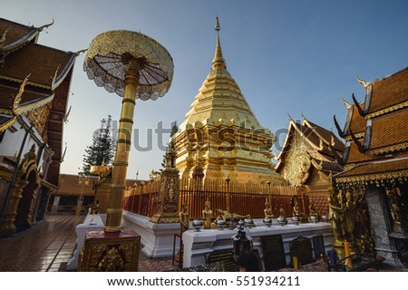 The most famous and most visited Buddhist temples of northern Thailand ( Doi Suthep ) on background traditional architecture building