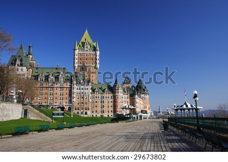 The most famous attraction in Quebec City: Chateau Frontenac - stock photo